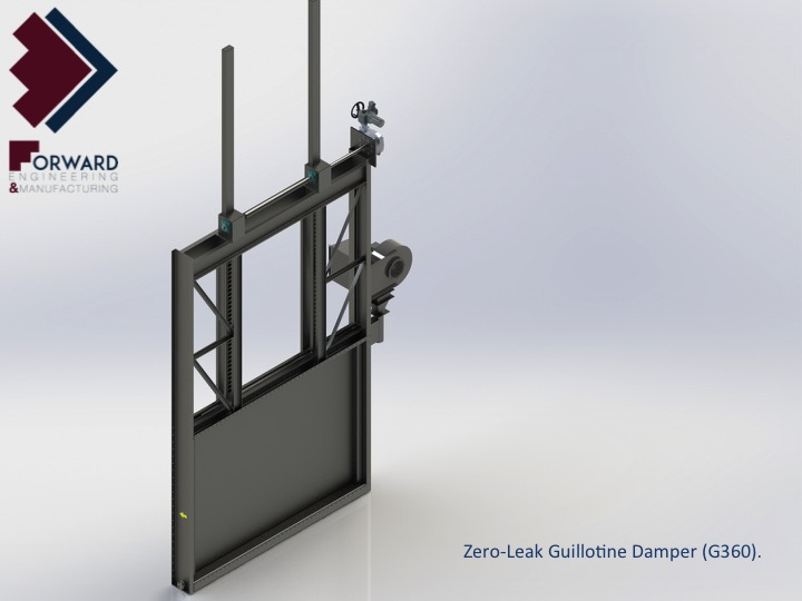 Zero Leak Guillotine Damper G Right Back Closed on Manual Rack And Pinion Service